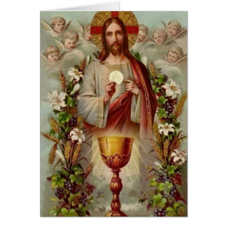 Cartão de oferecimento maciço católico do vintage