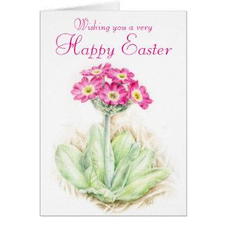 Cartão de páscoa cor-de-rosa floral da prímula cartão de nota