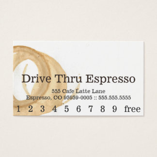 Cartão de perfuração da mancha do café da pia cartão de visitas