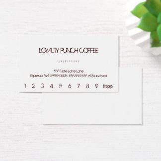 Cartão de perfuração do café da lealdade