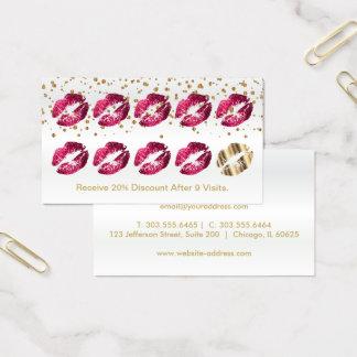 Cartão de perfurador da lealdade - brilho do rosa