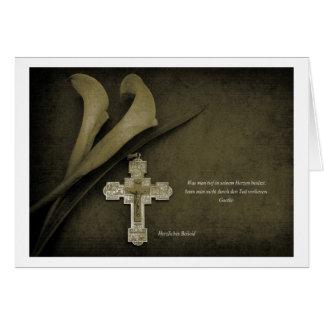 Cartão de pêsame Calla e cruz