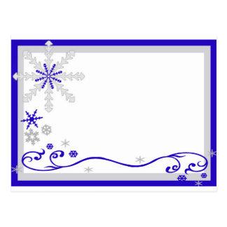 Cartão de prata azul dos flocos de neve do país cartão postal