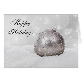 Cartão de prata do ornamento da bola do Natal