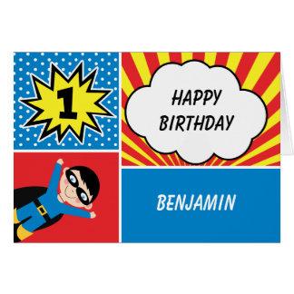 Cartão de primeiro aniversario do super-herói dos