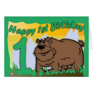 Cartão de primeiro aniversario - urso