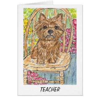Cartão de professor de Terrier de monte de pedras