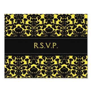 Cartão de resposta amarelo e preto do damasco convite 10.79 x 13.97cm