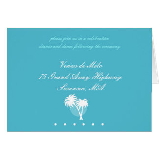 Cartão de resposta azul das palmas