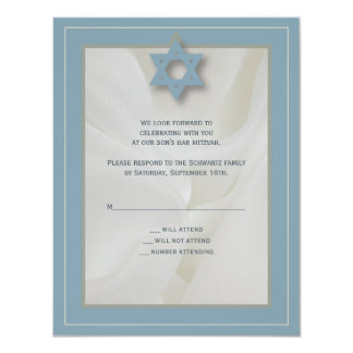 Cartão de resposta elegante de Mitzvah do bar do Convite 10.79 X 13.97cm