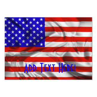 Cartão de seda do convite da bandeira dos EUA da