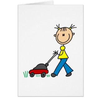 Cartão de sega da grama da menina
