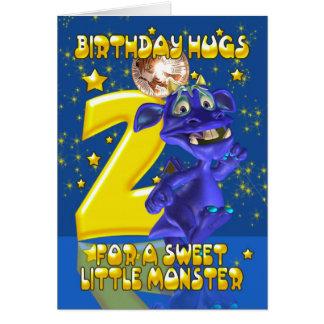 Cartão de segundo aniversário com o monstro azul