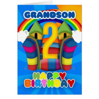 Cartão de segundo aniversário do neto com castelo