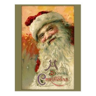 Cartão de sorriso do Natal do papai noel do vintag Cartoes Postais