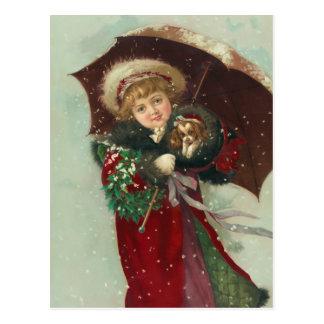 """""""Cartão de uma caminhada nevado"""" Cartões Postais"""