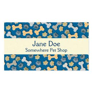 Cartão de visita azul da loja de animais de estima