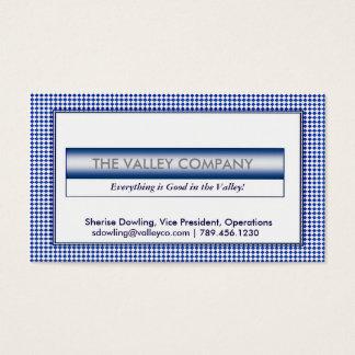 Cartão de visita azul do diamante do vintage