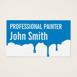 Cartão de visita azul do pintor do gotejamento da