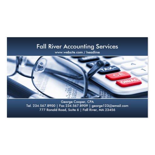 Cartão de visita azul elegante da contabilidade