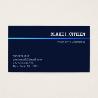 Cartão de visita azul escuro com a listra azul do