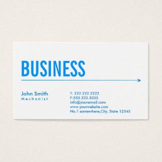 Cartão de visita azul simples do mecânico da seta