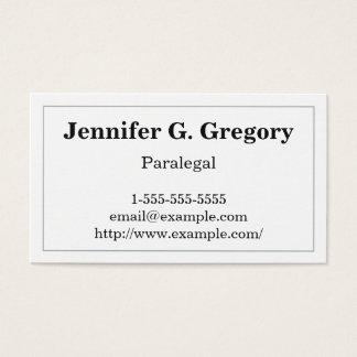Cartão de visita básico e tradicional do Paralegal