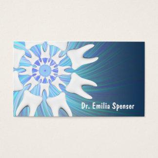 Cartão de visita branco do dentista do círculo dos