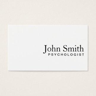 Cartão de visita branco liso mínimo do psicólogo