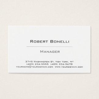 Cartão de visita branco preto liso simples do