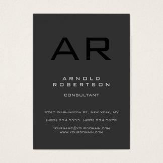 Cartão de visita cinzento do monograma do preto