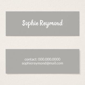 cartão de visita cinzento elegante com nome branco