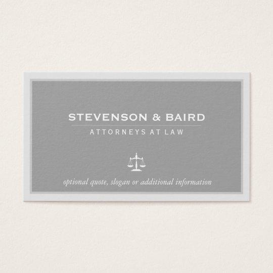 Cartão de visita cinzento elegante do advogado do