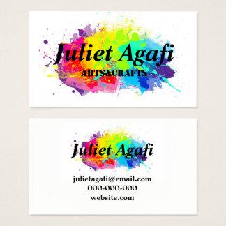 Cartão de visita colorido com manchas coloridas
