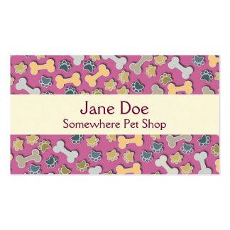 Cartão de visita cor-de-rosa da loja de animais de