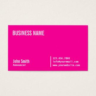Cartão de visita cor-de-rosa de néon chique do