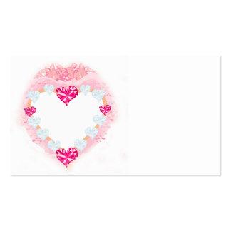cartão de visita cor-de-rosa do coração dos