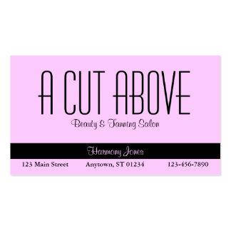 Cartão de visita cor-de-rosa do salão de beleza
