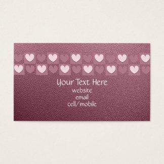 Cartão de visita cor-de-rosa dos corações