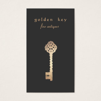Cartão de visita da chave do ouro do vintage