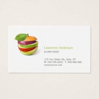 Cartão de visita da dietista/nutricionista/comida