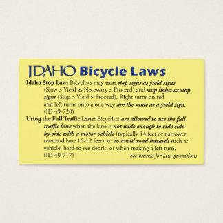 Cartão de visita da lei da bicicleta de Idaho