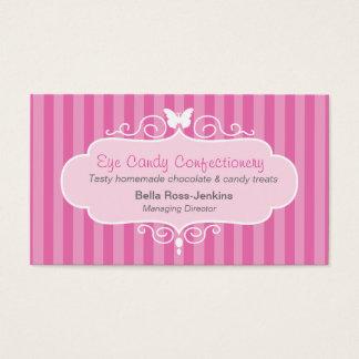 Cartão de visita da listra do rosa dos doces da
