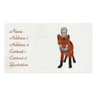 Cartão de visita da RAPOSA VERMELHA & da CORUJA
