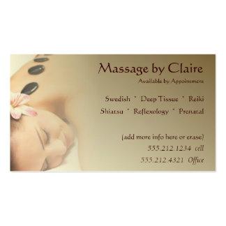 Cartão de visita da terapia da massagem