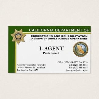 Cartão de visita do agente de palavra de honra