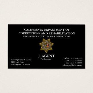 Cartão de visita do agente de palavra de honra no