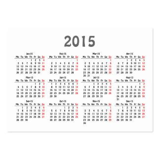 cartão de visita do calendário do modelo 2015