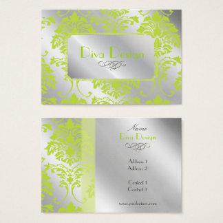 Cartão de visita do damasco no verde limão no tom