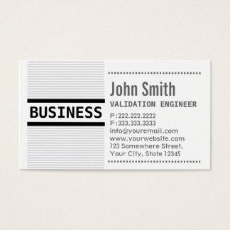 Cartão de visita do engenheiro da validação das